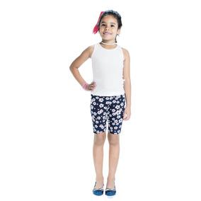 Bermuda Lecimar Kids Em Cotton Stretch Alto Verão Estampas D