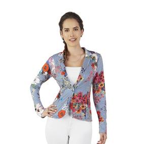 Saco Para Dama Color Azul Con Blanco Rayas Verticales Flores