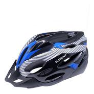 Capacete Com Sinalizador De Led Ciclismo Bike Azul Com Preto