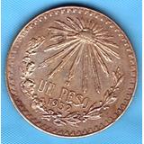 Moneda Plata Antigua Mexico Un Pesos Resplandor 1935 P32