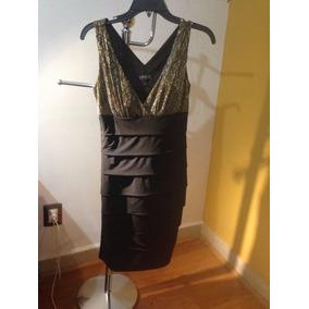 Vestido De Noche Corto Negro/dorado. Usado, Como Nuevo