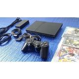 Consola Sony Playstation 2, Ps2 Slim Con Chip / 3 Juegos