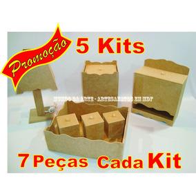 Promoção - 5 Kits Higiêne Bebê Liso - 7 Peças Mdf Cru