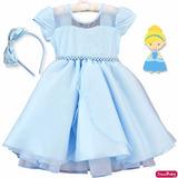 Vestido Princesa Frozen Cinderela Infantil Brilho Com Tiara