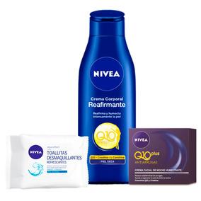Combo Crema Nivea Q10 Y Crema Visage + Toallitas +obsequio
