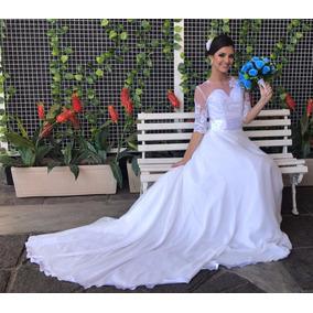 Vestido De Noiva Casamento Luxo Costas Em Renda Bordada