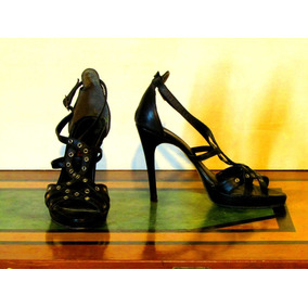 Zapatos Sandalias Góticas Mujer De Cuero Negras
