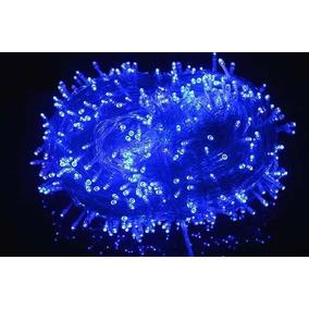 Pisca 100 Lâmpadas Led 8 Funções Azul C/ Fio Transparente