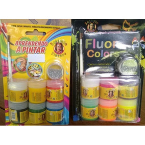 6 Kits Tinta Para Rosto E Fluor Colors Rostinho Pintado