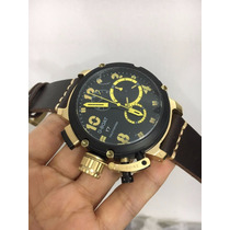 Relógio U-boat Quartz Preto Mostrador Preto Detalhes Amarelo