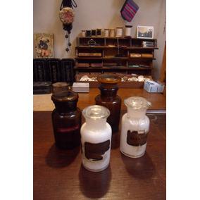 Antiguos Frascos De Farmacia Con Tapones De Vidrio