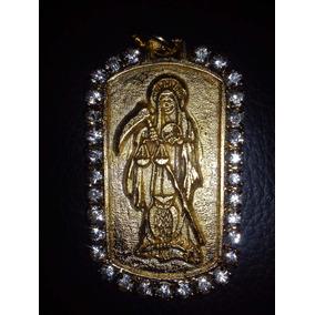 Dije Santa Muerte Con Cadena Cartier Oro Laminado 24k
