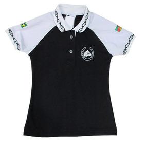 3c305ccd92 Polo Tajol Feminina Cavalo Crioulo Pampa Preta branca