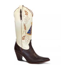 Bota Texana Lady Silver Couro Floater Chocola Floater Marfim