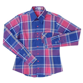 260e021c78 Camisa Manga Longa Feminina Xadrez Azul Rodeo Western 23346