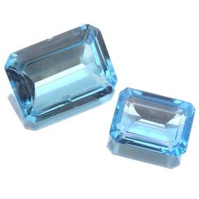 Par De Topazio Azul Baguete Pedra Preciosa Natural J18114