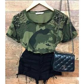 Blusa Feminina Camiseta Militar Camuflada Com Pedraria 2018