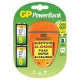 Cargador 9v Marca Gp + 2 Baterías Recargables