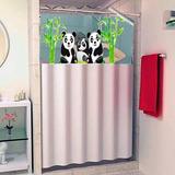Cortina Para Box Banheiro Desenho Panda Com Visor Plástico