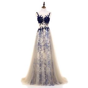 Vestido Largo Champagne Con Azul Envio Gratis !