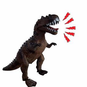 Brinquedo Dinossauro 3d Led Anda Sozinho Faz Som Eletronico