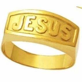 Anel Em Ouro Escrito Jesus Ouro18k