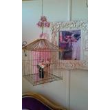 Pajarera Vintage Jaula Pájaros Dorada