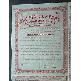 Apólice State Of Pará - 1915 - Libra Esterlina - Periciada