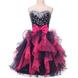 Vestido 15 Anos Debutante Curto Azul Escuro E Pink