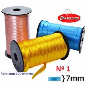 Fita Cetim Nº01 - 7mm - 6 Rolos C/100 Metros - Várias Cores