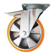 Rueda Carrito Giratoria Con Freno Aluminio Poliuretano 150mm
