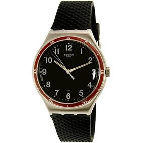 Swatch Mens Red Wheel Yws417 Black Rubber Swiss Quartz Watch