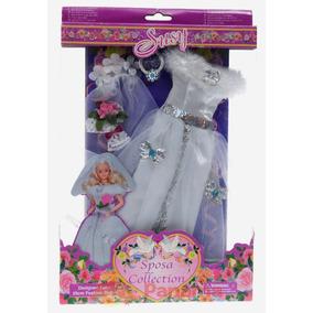 Vestido Noiva Para Boneca Barbie Susi * Véu Sapatos Colar