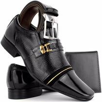 Sapato Cinto Social Masculino Couro Legítimo Dhl Kit Promo