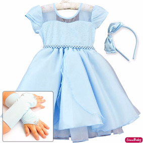 Vestido Frozen Cinderela Alice Princesa Infantil Luvas Tiara