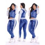 Conjunto Calça Jeans + Jaqueta Jeans Com Moletom Promoção!