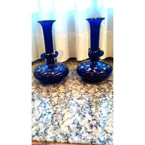 Par De Floreros Color Azul Cobalto
