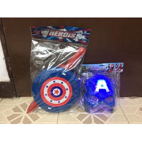 Kit Capitão América ( Mascara Com Led + Escudo + Espada)