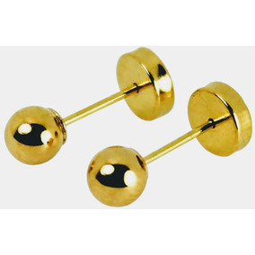 Aros Abridores De Oro 18k, Diseño Bolita 3,5mm, Bebé Niñas