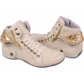 Sapatenis Sneaker Feminina Couro Sapatilha Cano Alto Dobrave