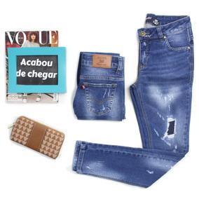 Calça Skinny Jeans Destroyed Com Forro Revanche