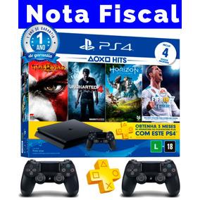 Ps4 Slim 500gb + 4 Jogos+ 2 Controles + Nota Fiscal