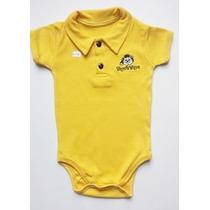 Kit Com 3 Body Tigrezinho Divertido Gola Polo Infantil