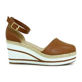 Sandália Anabela Feminina Plataforma Doma Shoes Caramelo