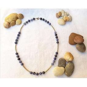 Collar De Piedras Semipreciosas Lapislazuli Oro Laminado 14k