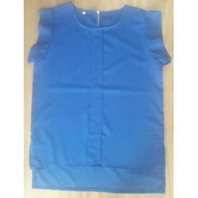 Blusa Feminina Tecido Chiffon Azul Royal Social Tamanho P