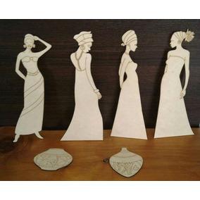 12 Figuras De Africanas De Mdf Fibrofacil 3mm De 60cm