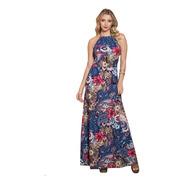 Vestido Longo Estampado Moda Evangélica Sem Manga Florido