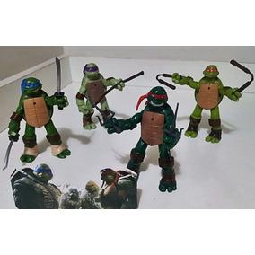 Kit 4 Bonecos Tartarugas Ninjas Nickelodeon 12cm + Armas