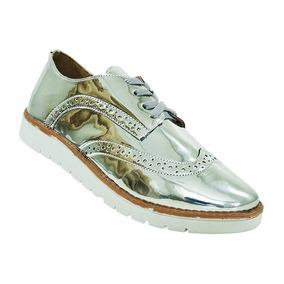 Sapato Brogue Feminino Metalizado Prata Frete Grátis